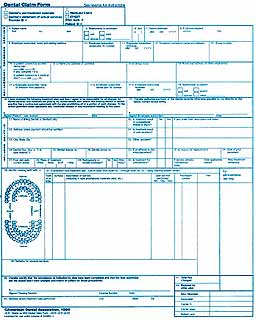 A dental claim form