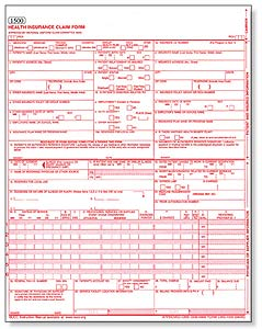 An example CMS 1500 form