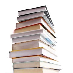 A stack of textbooks - you'll need to study hard to get your medical billing degree